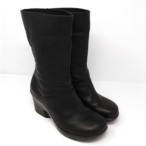 Dansko black leather roll down wedge bootie